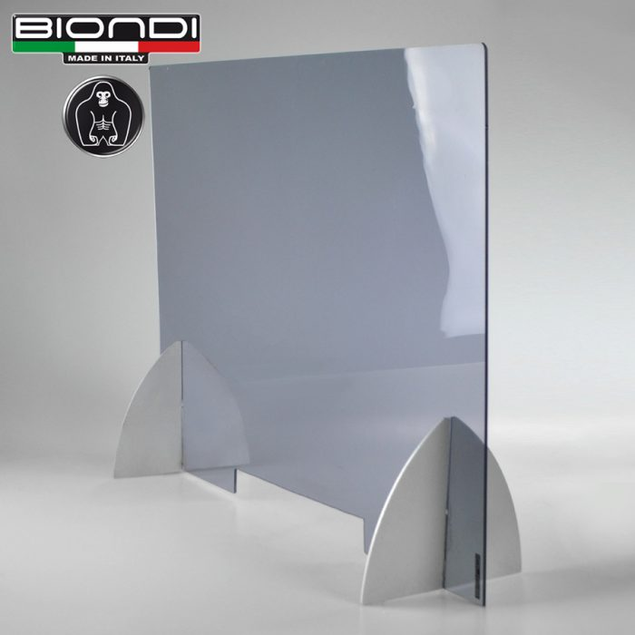 BA001 Protective screen, Partition barrier for Desk, Plexiglass Light smoke color, Supports in Satin Aluminum